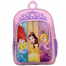 "Disney Princesses Belle, Ariel & Rapunzel School Backpack 15.5"" Full Size"
