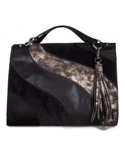 Joanel Haute Coco Satchel Handbag Black Peweter