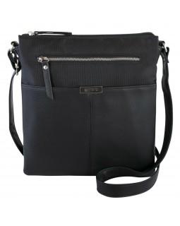 Roots 73 Dual Compartment Crossbody Handbag With PU trim Black