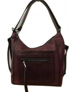 KGB Studio Backpack Convertible to Hobo Bag Fashion Day Burgundy