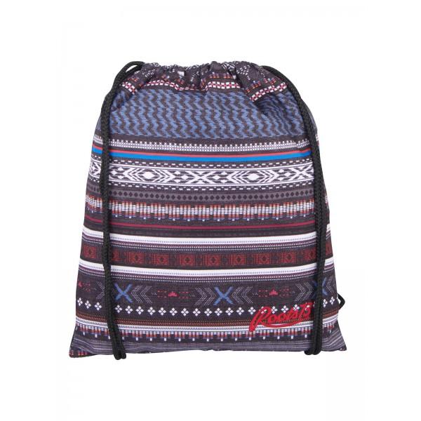 Roots 73 Drawstring Backpack Shoe Bag Grey/Blue Aztec