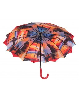Austin House Stick Umbrella Double Canopy Red