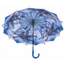Austin House Stick Umbrella Double Canopy Blue