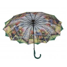 Austin House Stick Umbrella Double Canopy Green