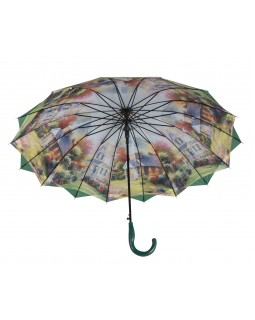 Austin House Stick Umbrella Double Canopy Green