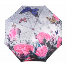 Knirps Belami Stick Umbrella Automatic Pink Butterfly