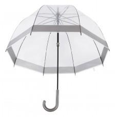 Knirps Belami Clear Dome Stick Umbrella Pewter Border